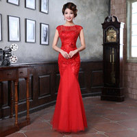 2014 wedding formal dress slim fish tail red long design formal dress bridal evening dress