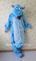 Hot!!! 2014 Sulley Monsters University Adult Cute Pajamas Anime Cosplay Pyjamas Costume Hoodies Adult Onesie Dress S M L XL