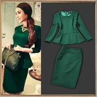 2013 autumn and winter fashion women's fashion set slim hip knitted elegant green skirt female