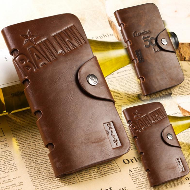 2014 New Fashion Casual High Quality Genuine PU Leather Men Long Billfold Wallets Vintage Top Brand