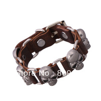 2014 Seconds Kill Promotion Star Fashion Style Genuine Leather Bracelets for Alloy Skull Bangle Free Shipping 6pcs/lot Pk-s0004