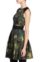 Free shipping 2014 fashion formal dress print o-neck patchwork slim waist one-piece dress dr095