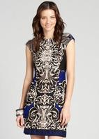 Free shipping Fashion new arrival 2014 fashion abstract print vintage elegant sleeveless slim one-piece dress 1093