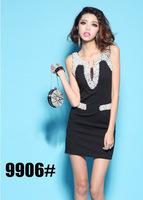 Women's Sexy V Neck Dresses Mesh Club Dress Bodycon With Beads Hot Clubwear Party Mini Dresses 2014 New Fashion
