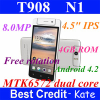 "Free shipping! Original Black T908 N1  MTK6572 phone 1.3GHz Dual Core 4GB ROM 4.5"" IPS 8MP Free Rotation dual sim black/Kate"