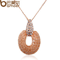Luxury Pendant Necklace For Women Party 18k Rose Gold Plated + Austrian Crystal High Quality Bamoer Jewelry JSN056
