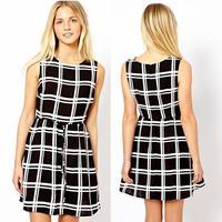 Chic Ladies woman Slim Fit Waist Sundress Crewneck Sleeveless Plaid Lace-up Mini Dress Free Shipping &Drop shipping