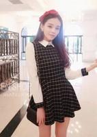 2014 spring fashion plaid patchwork turn-down collar all-match one-piece dress