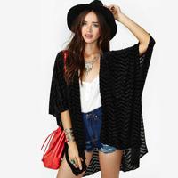 Free Shipping New 2014 Fashion Wave Striped Half Sleeve Plus Size Black Chiffon Shirts Casual Loose Blouses Cardigan 142225381
