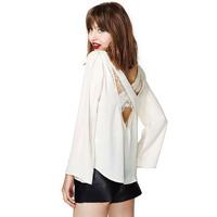Free Shipping New 2014 Fashion Cross Strap Backless Casual Plus Size White Long Sleeve Lace Chiffon Shirts Women Blouse142245376