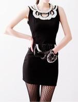 Womens Red/Black/Pink/Carmine Sexy Club Dress Beaded Collar Hot Clubwear Bodycon Pub Party 2014 For Women