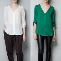Summer Women Chiffon Deep V-Neck Golden Rivet Tops T-shirt Long Sleeve Blouse Free Shipping & Drop Shipping