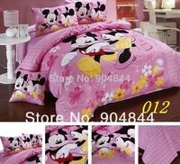 queen king duvet covers cartoon bedding set 4pcs  pink mickey mouse printed children's  bed linens/doona Duvet/comforter cover