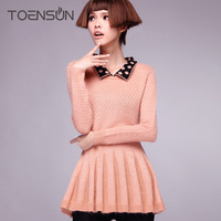 2013 autumn polka dot peter pan collar long-sleeved shirt pleated sweet knitted wool basic shirt sweater female