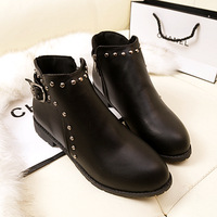 2014 spring and autumn fashion boots fashion vintage rivet flat heel cotton-padded shoes martin boots female boots motorcycle