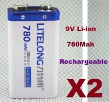 2PCS Batterie 9V Li-ion 780Mah Rechargeable 6LR61 Accu Battery Pile Accus 9 volts(China (Mainland))