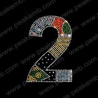 50Pcs/Lot Free Dhl Shipping Number 2 Rhinestone Embellishment Crystal Stones For Dresses Iron On Transfer