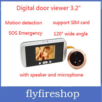 """3.2"""" SOS Emergency Auto Motion Detection 2M Pixels Digital Door peephole Viewer camera nightvision support SIM card Freeshipping"""