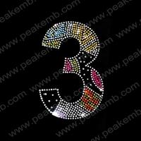 50Pcs/Lot Free Dhl Shipping Number Three  Iron On Rhinestone Transfer Designs Heat Transfer For Tshirt Hot Fix Design