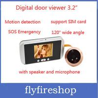 5pcs/lot IR Motion Detective Camera Door Viewer 3.2'' LCD Peephole Video Door Phone, SOS / Remote Call / Send Message