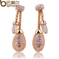 Luxury Champagne Gold Plated Dangle Earrings For Women Zircon Crystal Engagement Bamoer Jewelry JSE032