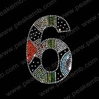 50Pcs/Lot Free Dhl Shipping Wholesale Rhinestone Heat Transfer Number 6  Iron On Crystal Stones Hotfix Motif