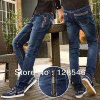 Nice Design Pocket Man Skinny Slim Jeans Cool Zipper Design On Side