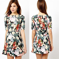 2014  summer women's fashion vintage fancy pattern print short-sleeve dress short
