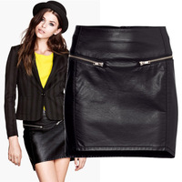 Autumn new arrival 2013 women's fashion PU short skirt slim step skirt bust skirt slim hip short skirt