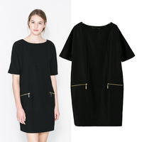 2014 spring and summer new arrival women's fashion double zipper decoration short-sleeve dress short skirt