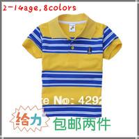2014 new children's clothing boy T-shirt cotton short-sleeve baby & kids stripe turn-down collar kids rainbow stripe t shirts