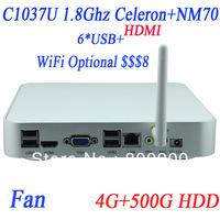 XBMC Smart TV Media Player small computer mini itx HTPC mini pc with Intel HD Graphics 4G RAM 500G HDD Direct11 support Windows