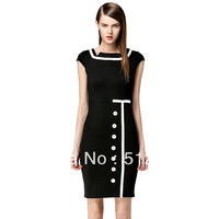Hot selling New Square collar OL black fashion bandage dress,evening club dresses