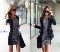 Free Shipping Fashion Women's Spring and Autumn One-Piece Dress O-Neck full-Sleeve Basic Patchwork dress Plus Size female Dress
