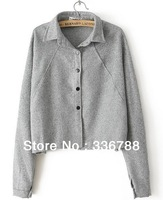 2014 Spring Korean New Tide Quality Loose Gray Cotton Shirt