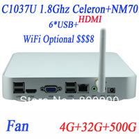 2014 new arrival 17W NM70-C1037U Mini PC mini itx pc 365 days working with fan Intel HD Graphics Direct11 WiFi Bluetooth support
