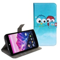 Couple Owl Wallet Leather Case For LG Google Nexus 5 ( D820 D821 )