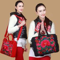 National trend original design embroidery fluid embroidered peony laptop bag messenger bag casual shoulder bag