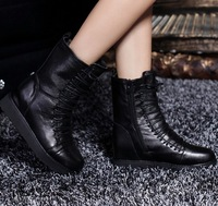 2014 NEW  Spring autumn motorcycle martin Muffin with leather wedge boots leather shoes side zipper Heighten boots