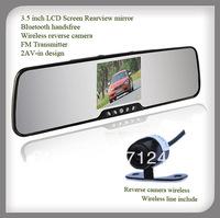 3.5 inch car rearview mirror + bluetooth handsfree car kit +wireless camera for reversing+AVin