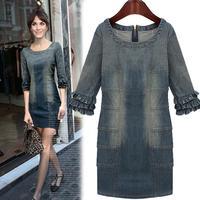 2014 spring new European leg denim dress wholesale high-end European and American models dress