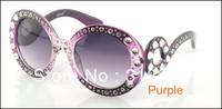 1pcs Diamond  New arrival fashionable Retro Inspired Round women's Sunglasses Worldwide FreeShipping