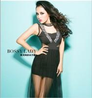 New 2014 Fashion sexy gauze patchwork beading one-piece dress hot dress Sexy dress free shipping