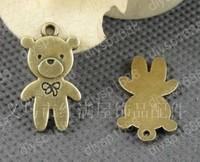 Fashion Jewelry Findings Accessories charm pendant alloy bead Antique Bronze 25*14MM bear shape 60PCS JJA2534