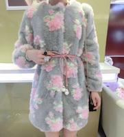 Ladies elegant soft plush three-dimensional rose fur medium-long overcoat thickening outerwear