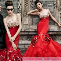 Cii red evening dress bridal wedding dress   wedding toast Korean trailing fishtail