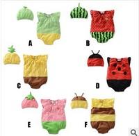 Free shipping Baby summer suits!2014 new Summer baby Romper set lovely fruit suits, short-sleeved Romper + hat infant romper set
