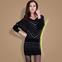 2014 spring new women Slim package hip rendering long-sleeved knit dress OL commuter lantern dresses