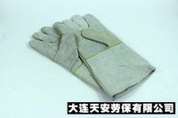 Welding gloves cowhide gloves lengthen thickening cowhide wear-resistant  free shipping