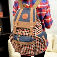 Polyester and cotton material plaid female fashion backpack student's school bag casual sports backpack travel bag